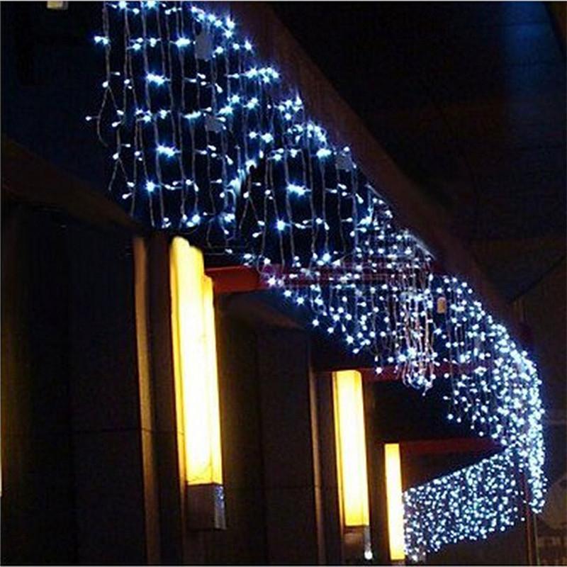 Светодиодная занавеска сосульки Строка Light 220V 5M 96leds Рождественская гирлянда Светодиодная Файская Xmas Party Garden Stage Открытый декоративный свет