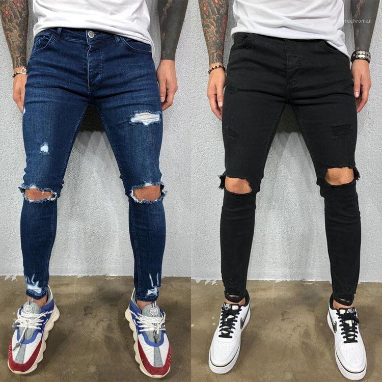 Джинсы джинсовые длинные брюки мужская дыра растягивающие карандаш молния мода летние брюки1 мужские
