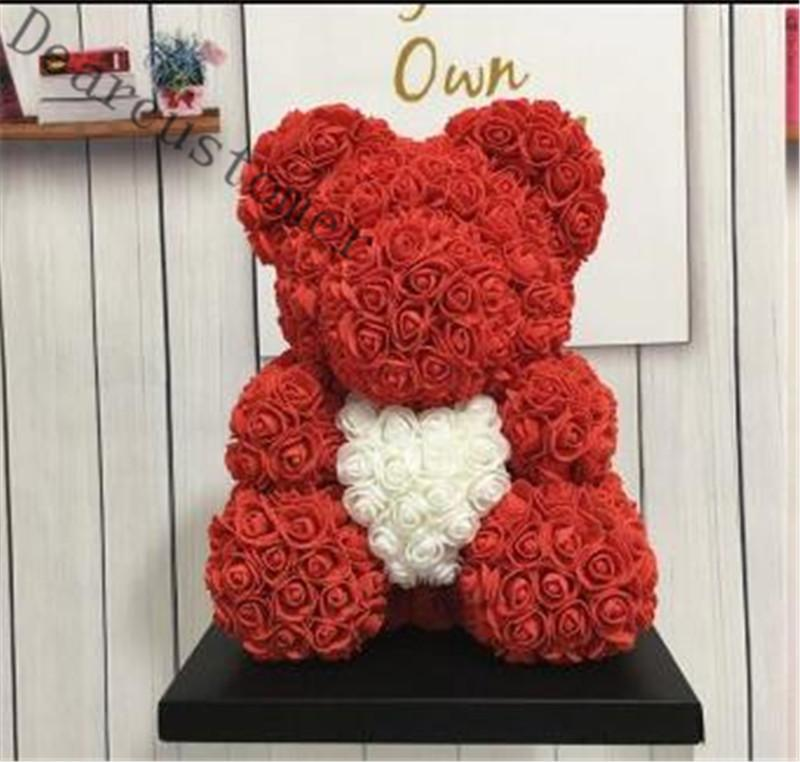 Big Big Rose Bover Bear Bear Rose con adornos del corazón Regalos para el día de San Valentín Women Women Regalo 25 cm 8 colores