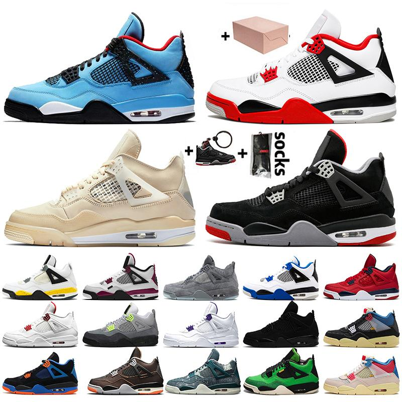 С коробкой Travis Mens Jumpman 4 Fire Red 4s Boots Boots Boots Starfish Compred Black Cat 2020 Sail Neon Womens Trainers Trainers Size 13