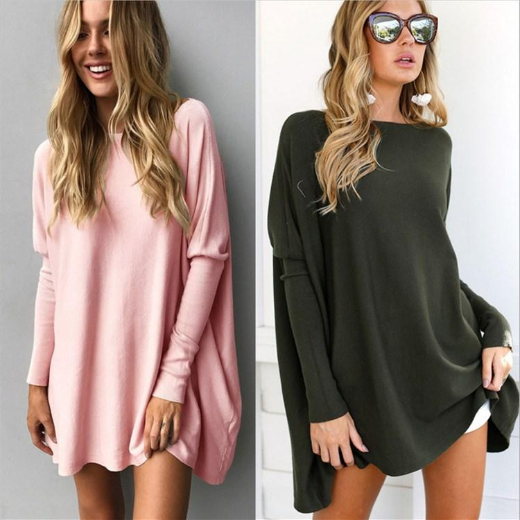 بلايز النساء الخريف والشتاء تي شيرت أزياء فضفاضة الصلبة قمصان كم طويل عادية الحد الأدنى نمط طويل تيز