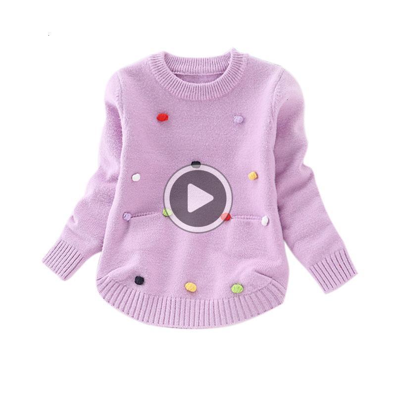 L5EF Sonbahar Kış Çocuk Giyim Pamuk Uzun Kollu 3D Dot Örme Kazaklar Girls Triko Bebek Bebek Çocuk Kabanlar Tops