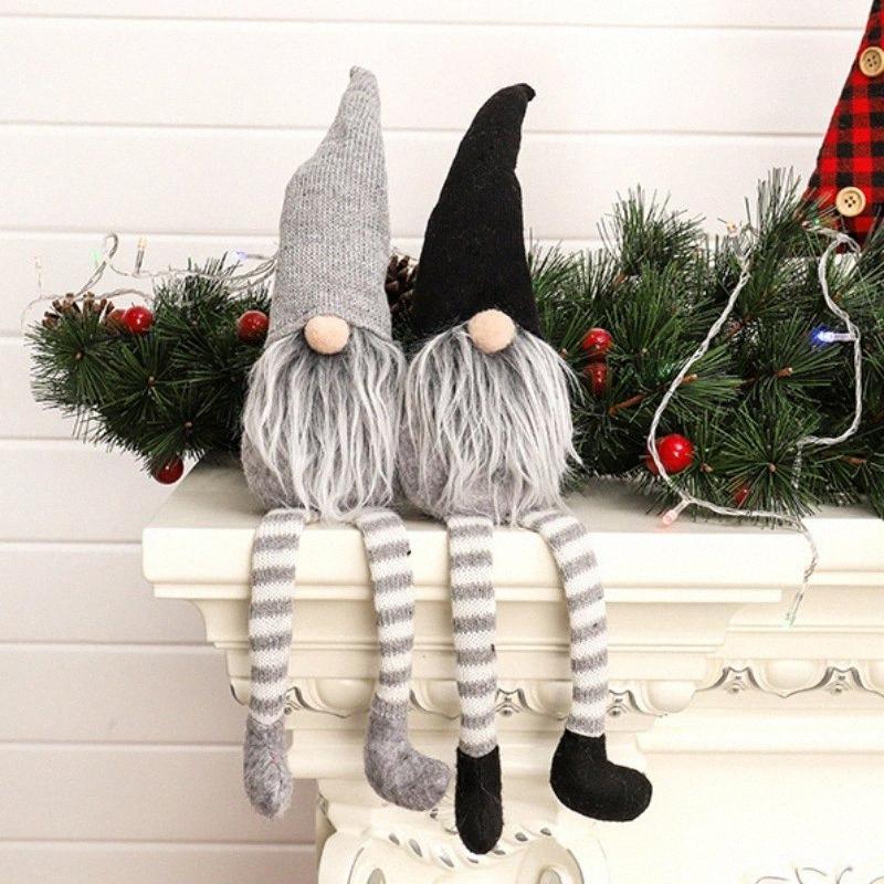 A maglia Seduto Tomte Natale Gnome Doll Decorazione da tavolo Santa figurine ornamenti Festa presente ztWJ #