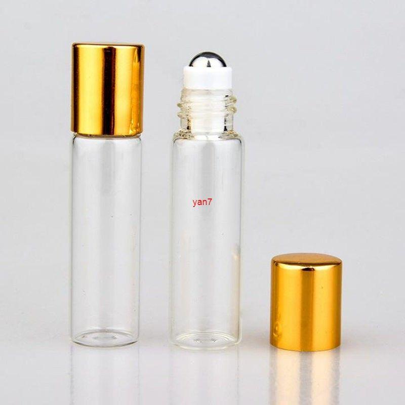 5ml Empty Roll-on Perfume Bottle Vials Refillable Aluminum Cap Glass Roller Ball Essential Oils bottle F20171321good qualtitygood sho