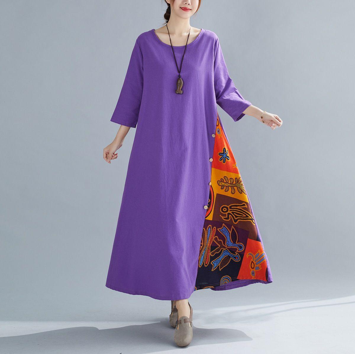 7Colour M-5XL 여성 의류는 세 분 소매 캐주얼 섹시한 드레스 맥시 드레스를 바느질 꽃 라운드 넥 대비 복고풍