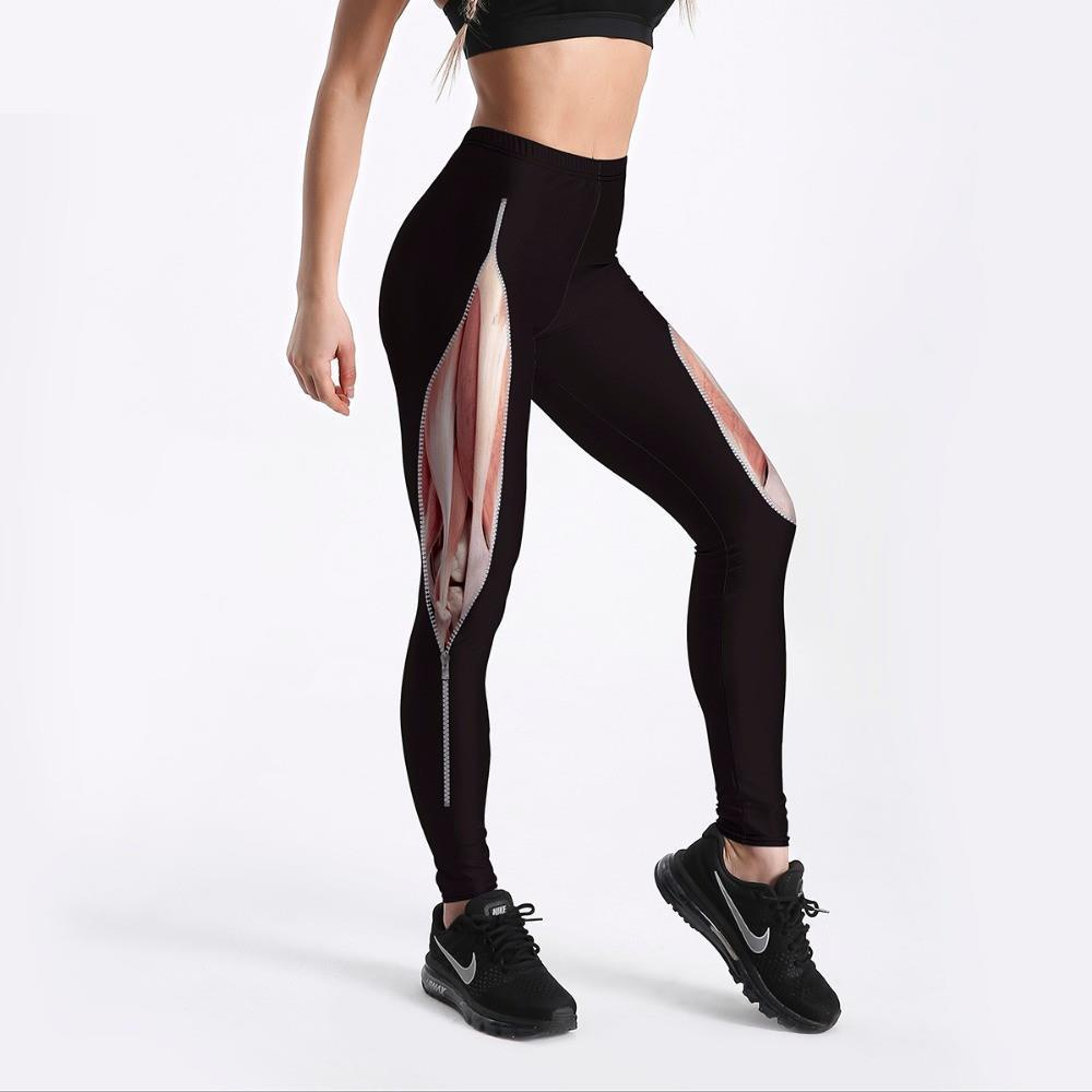 Unique Design Women's Leggings Tearing Muscles With Zipper Printed Legging Black Fit Casual New Bottom Drop Shipping