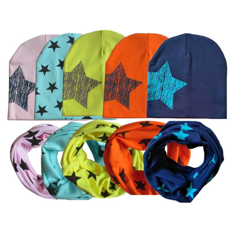 Kış İlkbahar Bebek Şapka Eşarp Seti Pamuk Erkek Bebek Kız Şapka Cap Yıldız Çocuk Çocuk Şapka Yenidoğan Bonnet Beanie Boys Caps yazdır