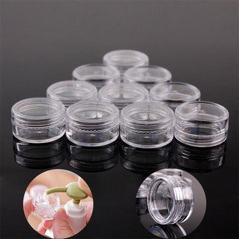 100 pcs 2g / 3g / 5g plástico vazio maquiagem cosmética frascos frascos transparentes frascos de amostra de sombra labial bálsamo caixa de armazenamento de contêiner t200819