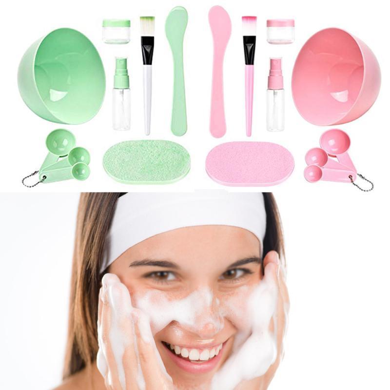Maschera fai da te Tool Set Media 9 in 1 Maschera Ciotola Spatola Set di pennelli di miscelazione Set Attrezzi viso kit making