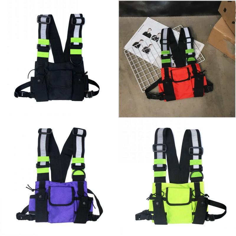 Packs Hop Waist Punk Style Stripe K2 Vest Reflective Hip Accesories Bags Trend Man Backpack Adjustable Chest Fashion 20bm Woman Wcndh