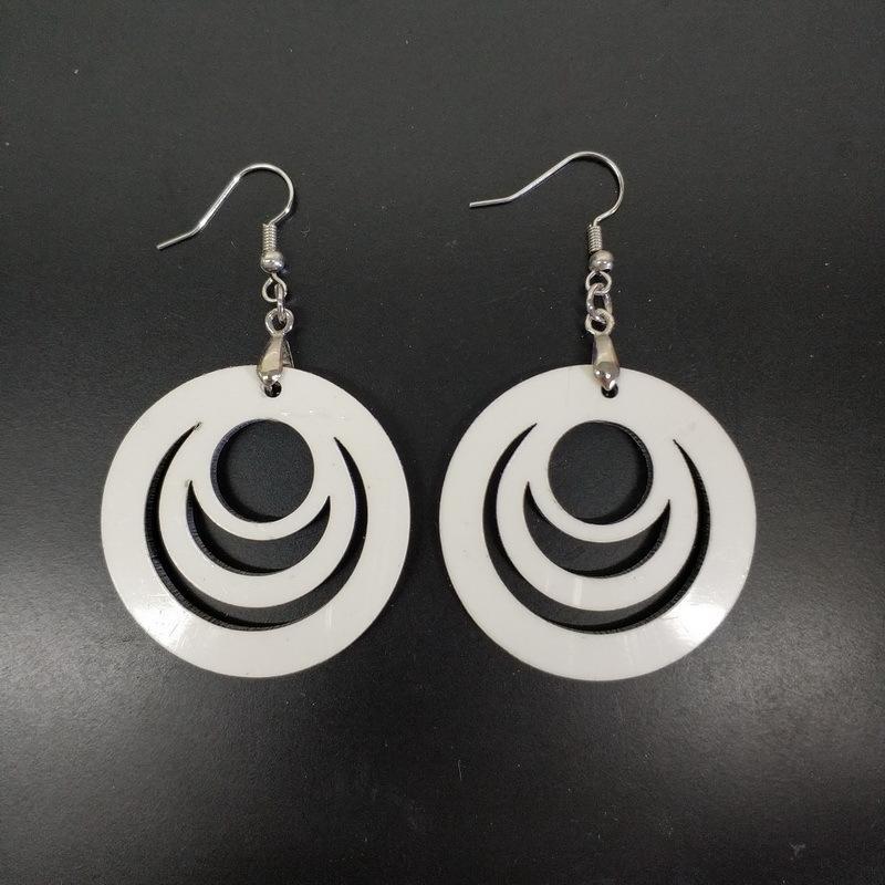 2020 Boucles d'oreilles Femmes Mode BILATÉRAL évidant Sublimation oreille blanc Pendentif bijoux en bois dormeuses personnalité 2 25BD F2