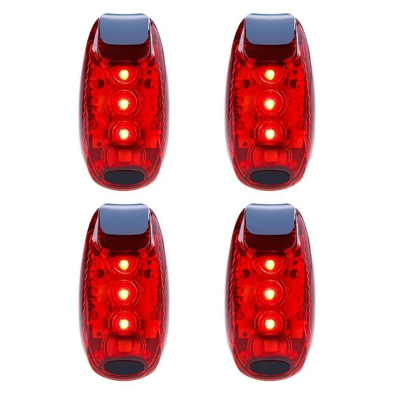 NUEVO 4 PCS Luz de seguridad a prueba de agua a prueba de agua, luz trasera, adecuada para correr, caminar, ciclismo, casco, etc.