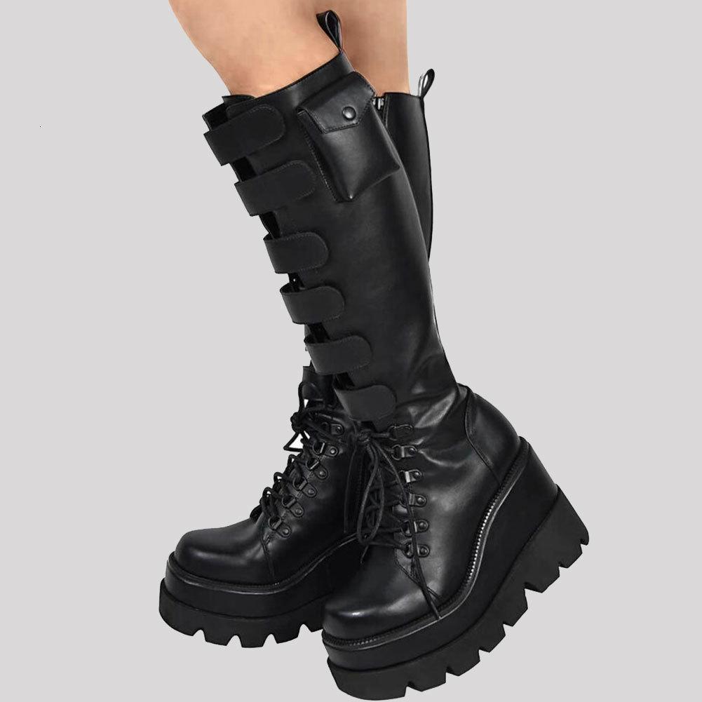 العلامة التجارية الجديدة تصميم كبير الحجم 43 الكعوب الحذاء دراجات نارية أنثى منصة الأوتاد العليا منتصف الساق أحذية نسائية أحذية