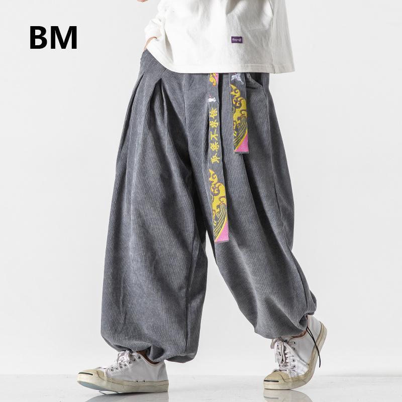 Mode Ceinture style chinois lâche baggy Pantalons simple Hommes Vêtements 2020 Harajuku Corduroy Bloomers 5XL Taille Plus Sarouel Homme