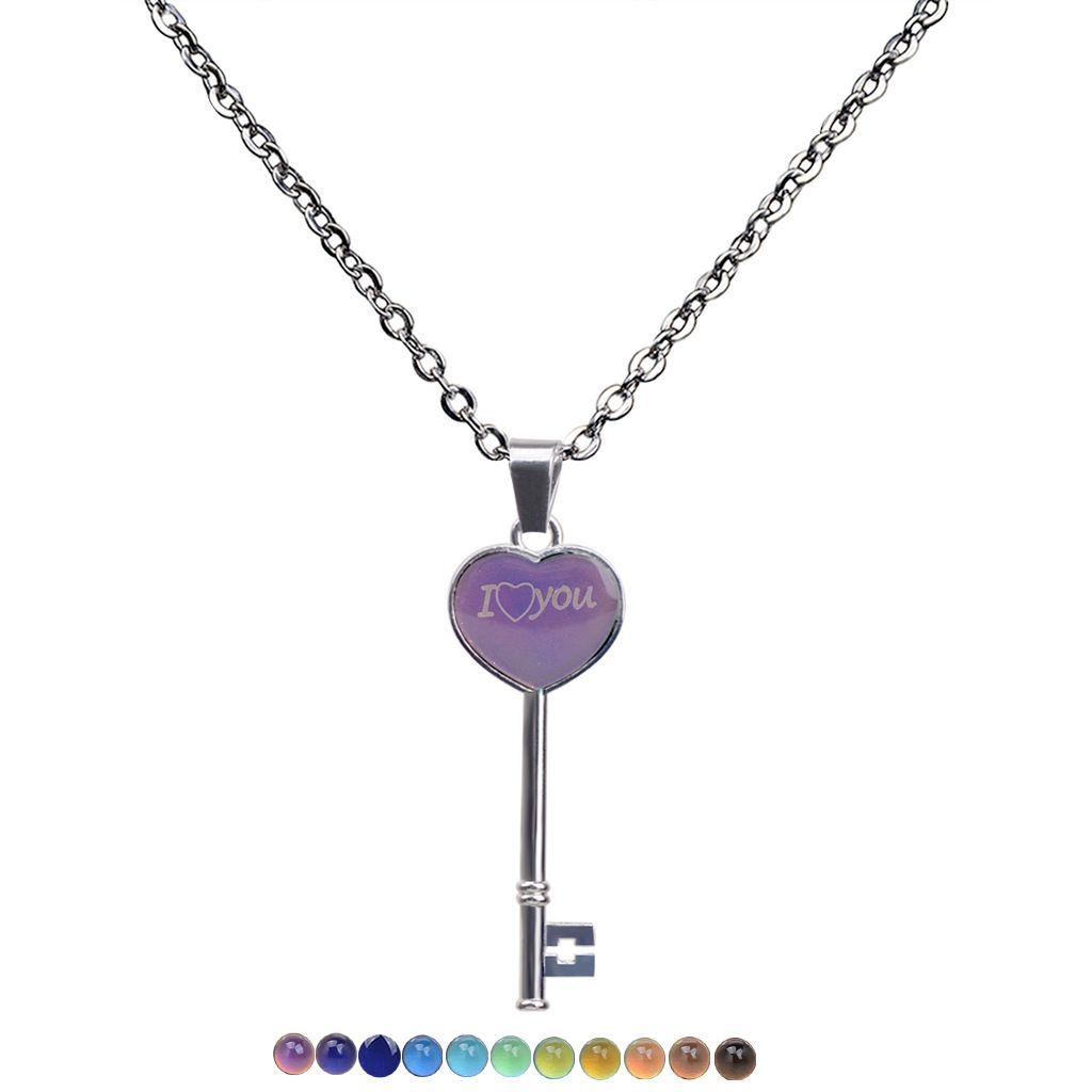 Zmiana kolorów Wykrywanie Temperatury Naszyjnik Nastrój Heart Key Wisiorek Kobiety Naszyjniki Moda Biżuteria Will I Sandy Nowy