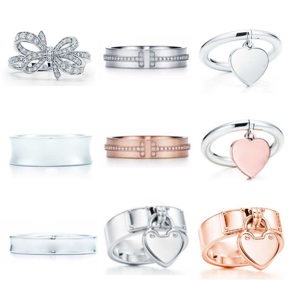 Nuovo regalo 925 argento sterling classico t logo tiff anelli cuore tiff anelli rosa oro argento gioielli partita gioielli del mondo per la ragazza
