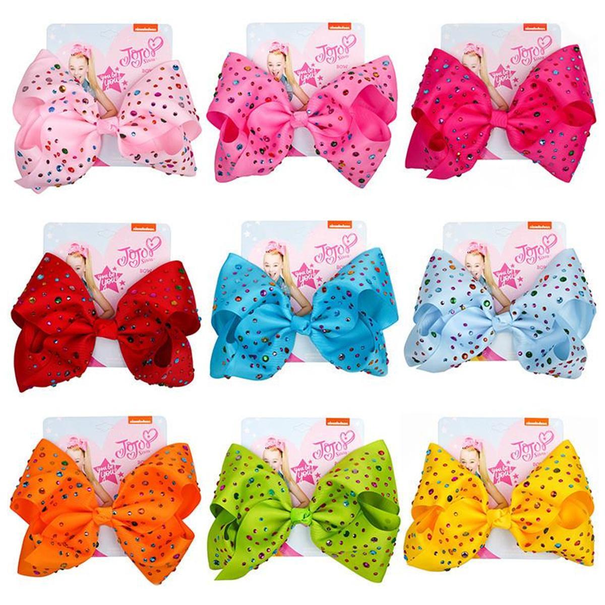 Baby Girl 8 дюймов Swia Bows Cute Bowknot Hairpin с алмазной точкой Девушка Большой Бантик Бордюр Красочный бант Цветочные Зажимки Волос Аксессуары Подарки