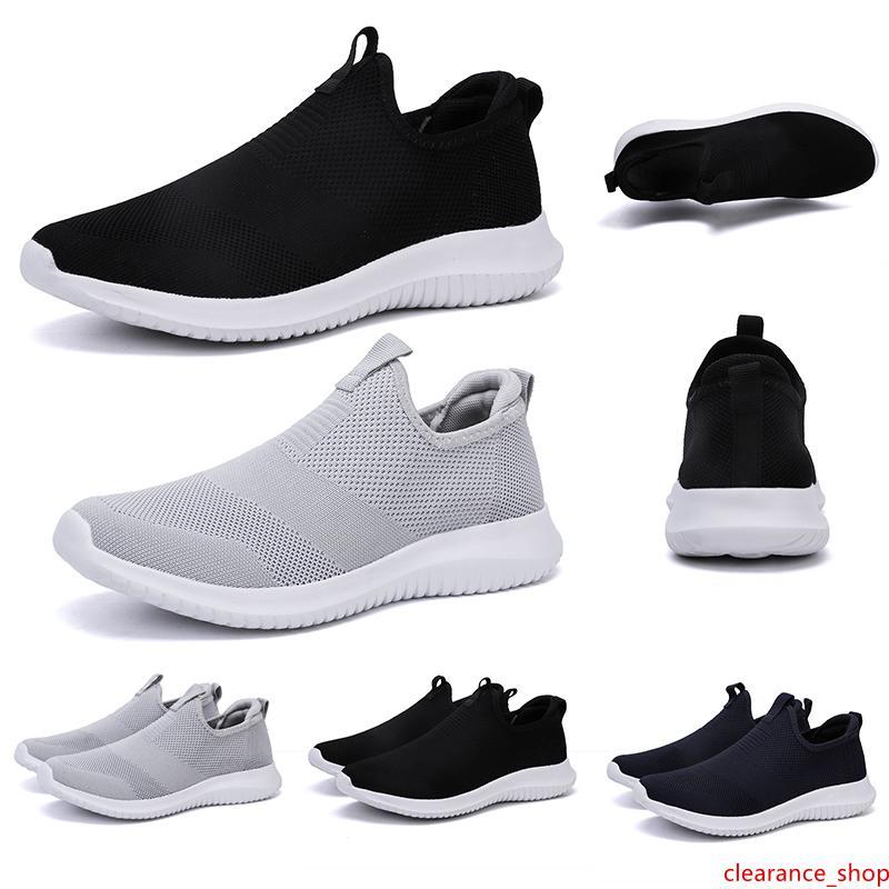 Respirable del verano mujeres hombres zapatillas de deporte negro blanco de color azul marino sin cordones para hombre entrenadores se deslizan en los deportes de las zapatillas de deporte de marca hecha en casa Hecho en China