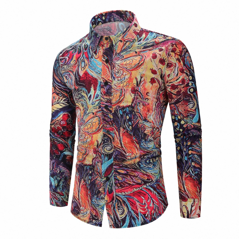 2019 Nueva Moda floral Imprimir delgado apto de las camisas de manga larga Camisas de ropa informal para hombre Y200409 W72F #