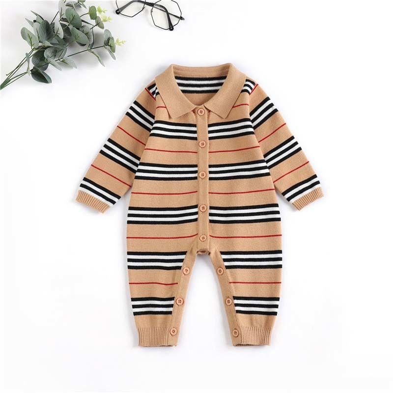 Baby designer kleidung mode junge streifen revers runcer infant revers langen sleeve overkuits neugeborene kinder stricken pullover onesie s720