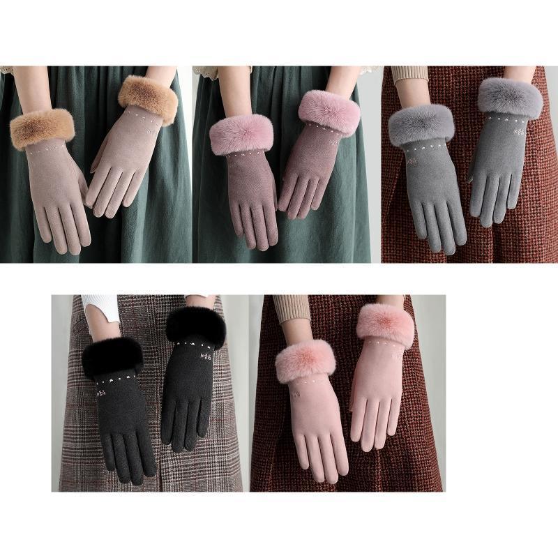 Пять пальцев перчатки женщин зимняя холодная погода Полный палец толстые теплые плюшевые подкладки сладкое сердце вышивка приводной сенсорный экран варежки