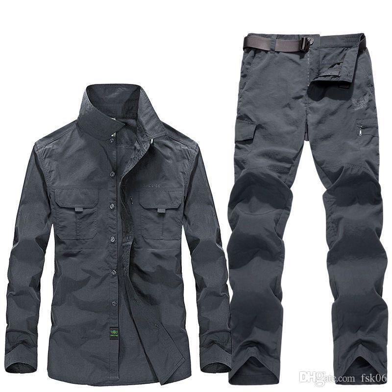 Uomo Casual Tuta Agente esterna rapida asciugatura camicia maschile slacciano grande primavera-estate sottile impermeabile Shirt Tactical