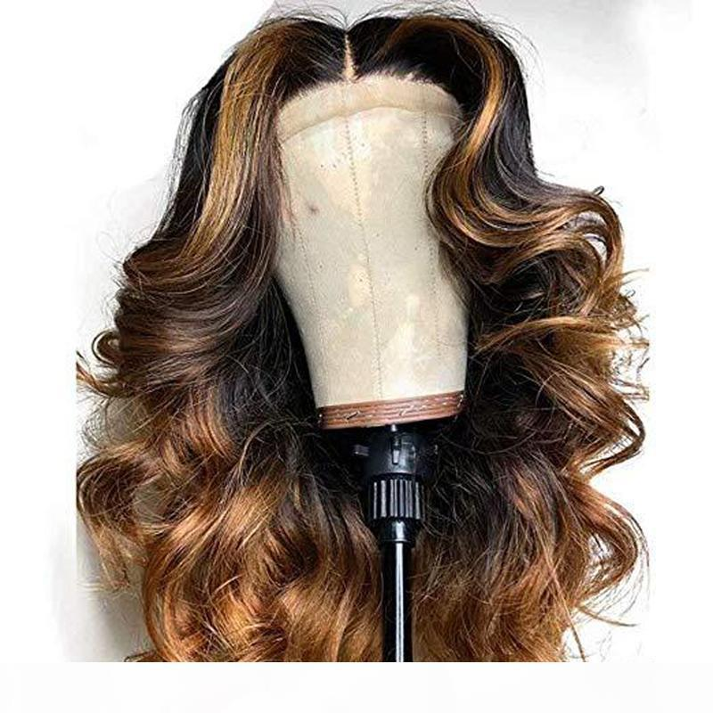 Pré plumé de dentelle perruques de cheveux humains avec bébé cheveux Péruvien dentelle Frontal Vierge Cheveux Boday Vague Faits saillants perruque blond miel