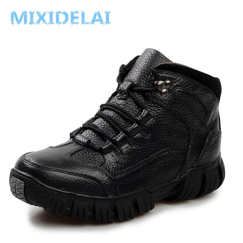 Mixidelai hakiki deri erkek çizmeler, el yapımı süper sıcak erkekler kış ayakkabı, sonbahar ve kış ayakkabı için yüksek kaliteli ayak bileği çizmeler 201127