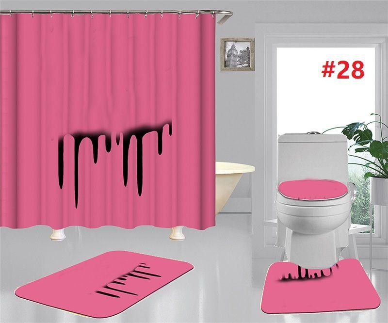 المد والجزر مقعد المرحاض يغطي حمام دش الستائر مجموعة غير زلة المرحاض الحصير الأزياء اكسسوارات الحمام ديكور المنزل