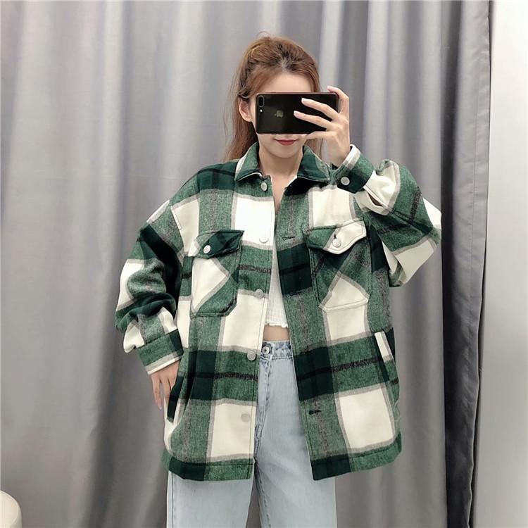 Vestes Femmes 2021 Veste à carreaux Vintage Femmes Manteaux Et Streetwear Coréen Button Up Mode Plus Taille Long Manteau Kawaii