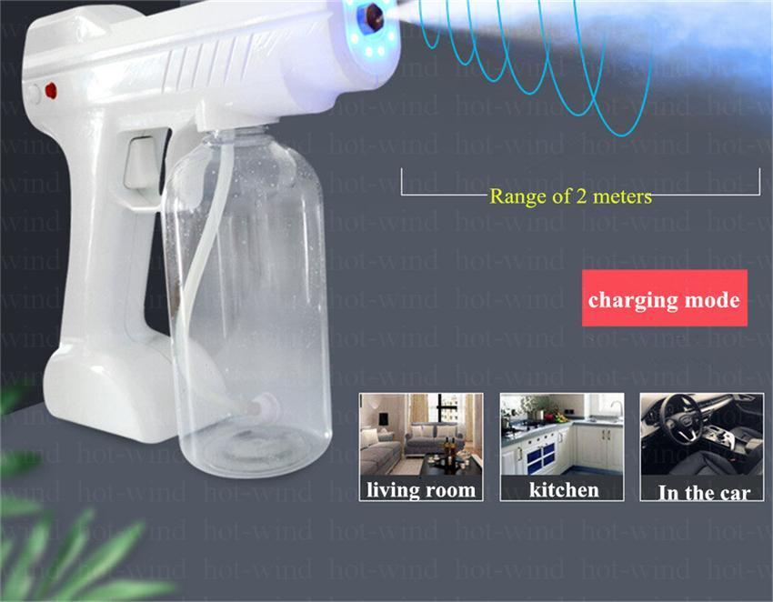 التكنولوجيا العالية لاسلكية الشحن بندقية رش 800ml للأشعة فوق البنفسجية تطهير بندقية يده الأزرق نانو المحمولة الكهربائية التفتيت رذاذ آلة FS9001