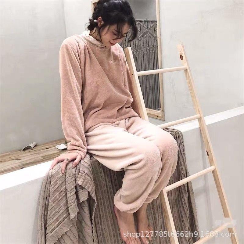 WTBLF Fairy wear coral Plush suit pants autumn and winter loose tie pajamasWarm elastic waist lazy Warm feet pants pajamas home pajamas lnEYK