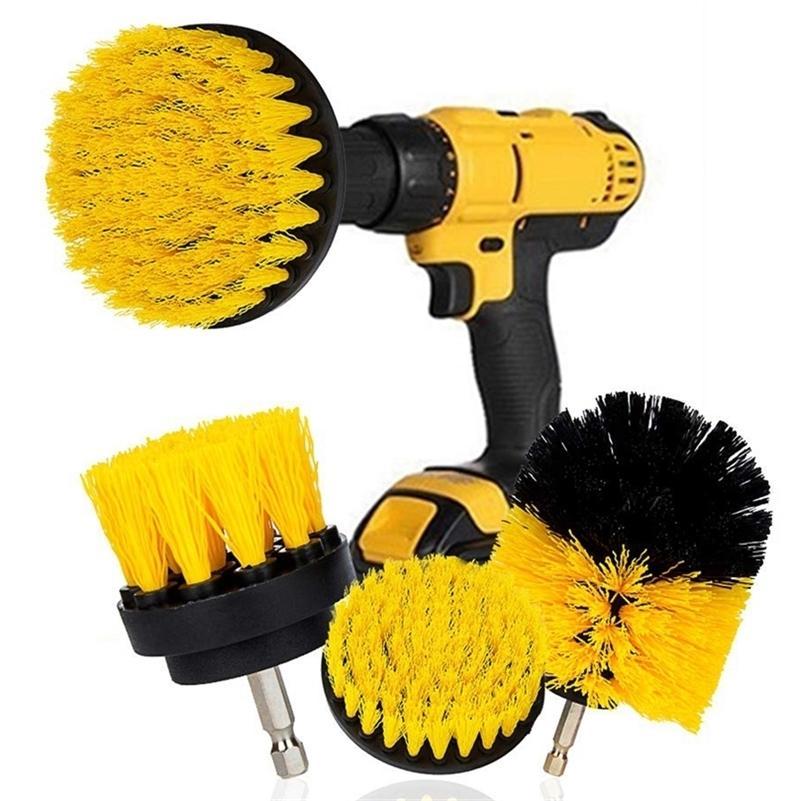 3pcs / set brosse de brosse de lavage électrique Kit de pinceau en plastique rond brosse de nettoyage pour tapis Pneus de voiture en verre Nylon Brosses 2 / 3.5 / 4 '' 201214