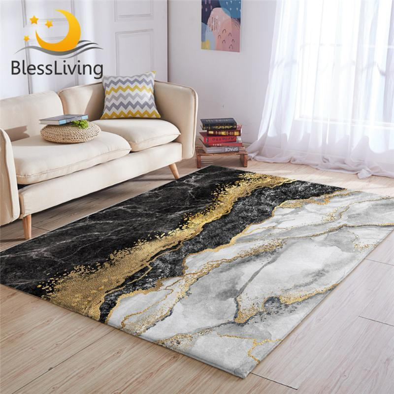 BlessLiving Luxo área de tapete Para Sala Gold Glitter Marble Centro Tapete Preto Modern Grey bedroom 122x183cm Drop Ship