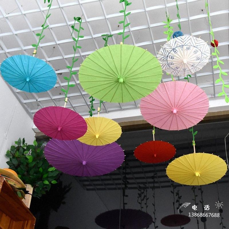 30cm / 40cm / 60cm papel hecho a mano el paraguas coloreado tradicional china Niños DIY papel pintura paraguas artes decorativas y la artesanía K1MK #