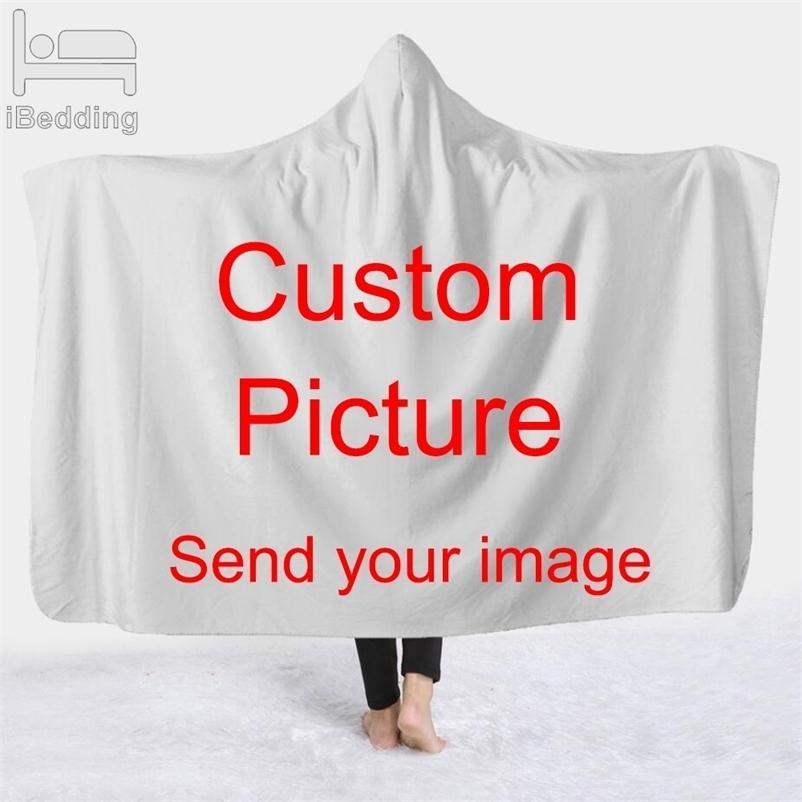 Personnaliser Dropshipping 3D Couverture à capuche en peluche imprimée pour adultes Kid Feuillette chaude vierge personnalisée Couvertures de couture 201222