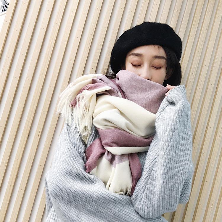 Herbst Frühling Winter Plaid Wollmischung Schal Quasten weiblichen Kaschmir-Mischung Muslim Hijab Tücher Kerchief Muffler