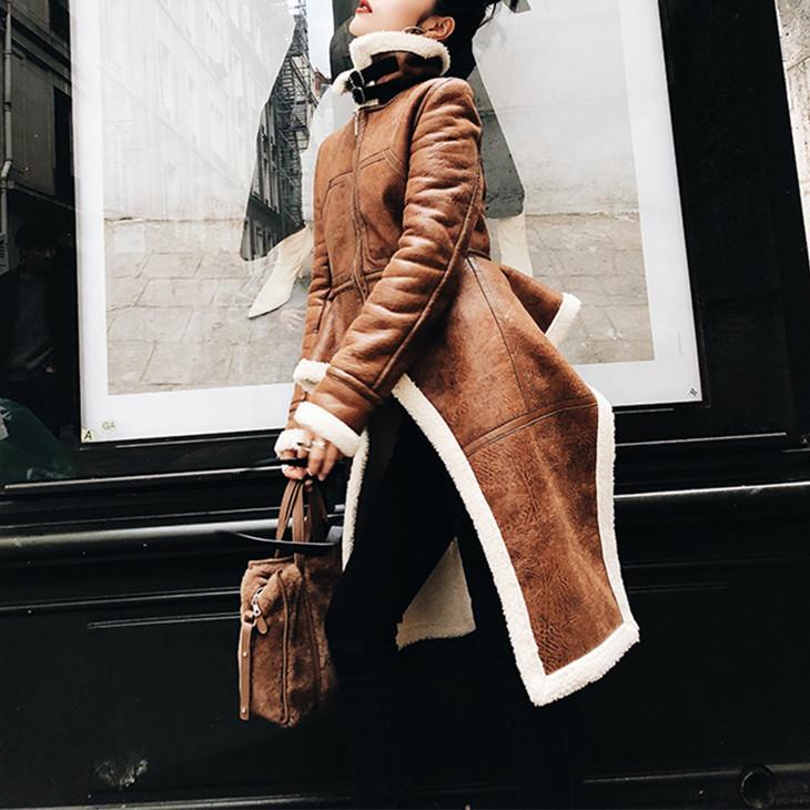 New Tide Design Patchwork овечьей шерсти вскользь куртка для женщин нагрудные с длинным рукавом Нерегулярное PU кожаные куртки зимние женские моды