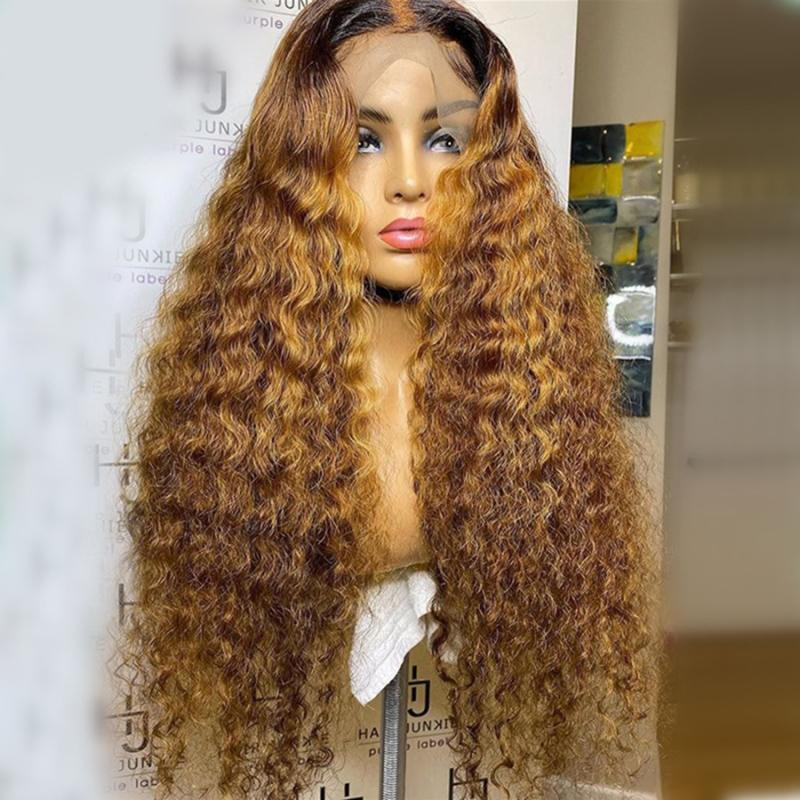 # 1bT27 페루 레이스 프런트가 인간의 머리 가발 아기 머리 150 % 밀도 레미 물 웨이브 레이스 꿀 금발 가발 사전 뽑아 표백 된 매듭