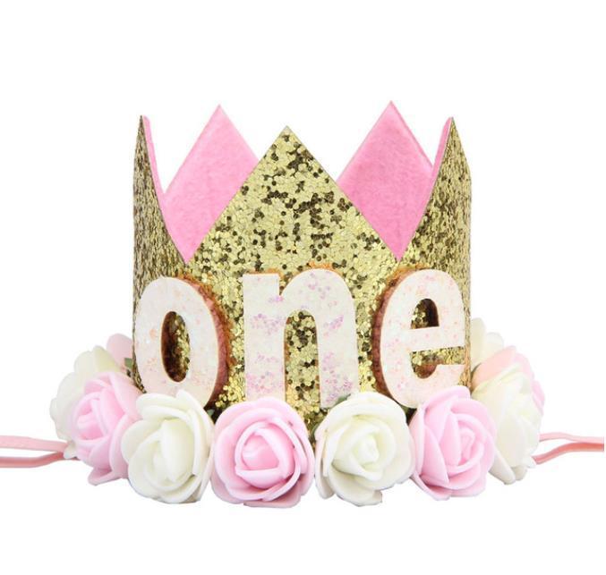 قبعات سعيد أول حفلة عيد الميلاد ديكور كاب واحد عيد ميلاد قبعة الأميرة ولي العهد 1 2 3 السنة قديم عدد اطفال اطفال الشعر الملحقات