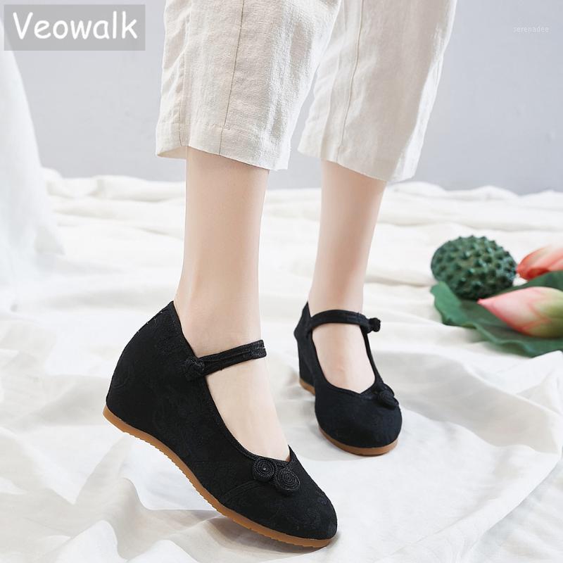 Veowalk 7 cm Hidden Keilfrauen Jacquard Stoff Ferse Schuhe Damen Komfortable Gestickte Pumps Chic Chinesisch Knoten Kleid Schuhe1