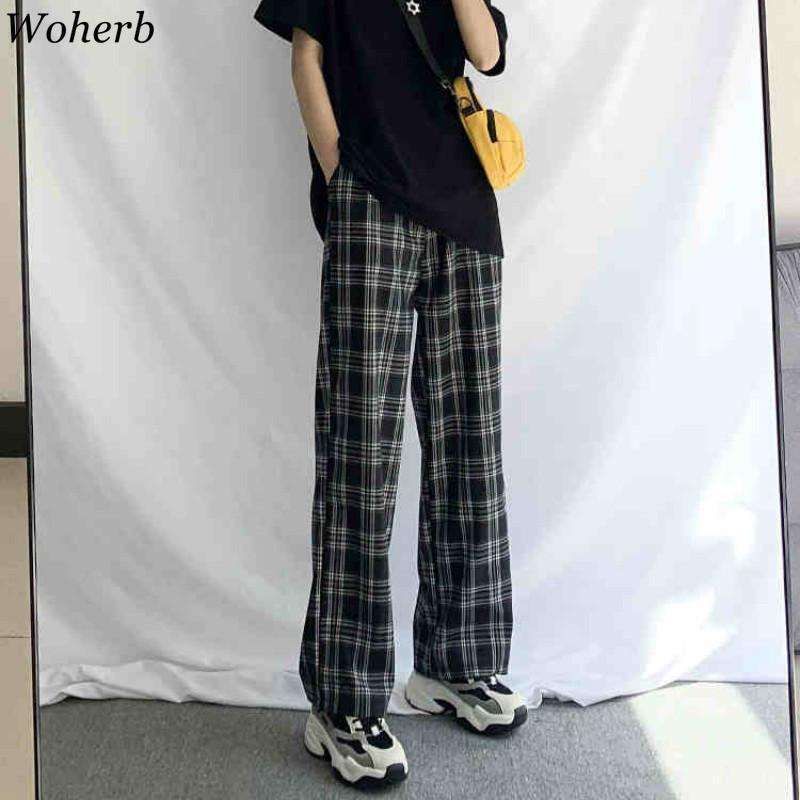 Woherb Vintage plaid delle donne 2020 Nuovo Harajuku Altezza caviglia gamba larga pantaloni coreano Streetwear Ragazze Pantaloni Pantalon Femme C1111