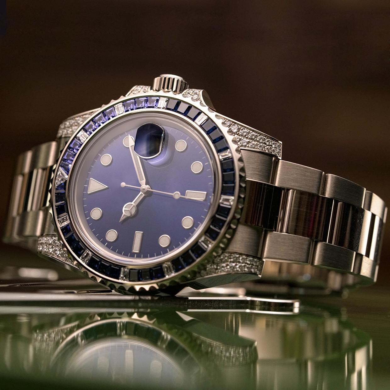 Männer Frauen Diamant Uhren Dame Mädchen Designer Party Strass 2813 Mechanischer Edelstahl Automatische Selbstwind-blaue Armbanduhr