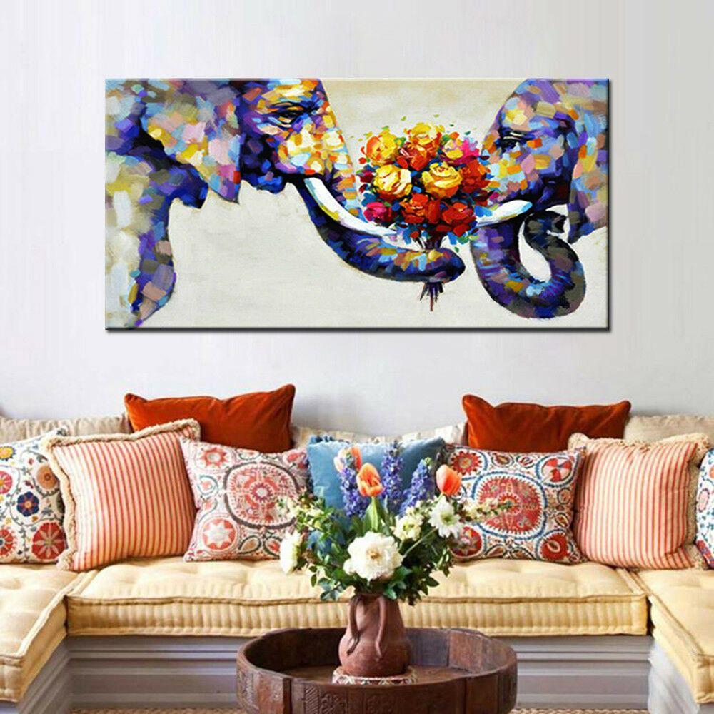 Большое животное слоны любовника оформлены безграничном домашним декором Handpainted HD печати Маслом живописи на холсте настенное искусство холст картинки ER20112