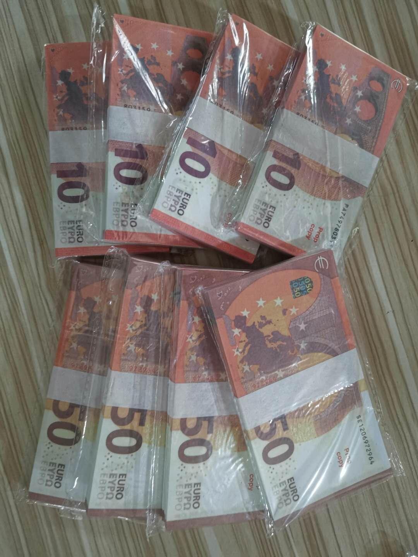 2020 Simulazione di vendita a caldo Euro falso Banconote Giocattoli Giocattoli Film e Televisione Puntelli di tiro Puntelli Dollar Practice Banconota Game token