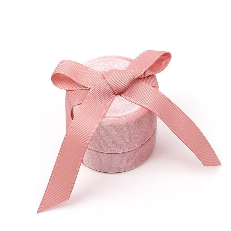 Corduroy Cylinder Jewel Case Rings Necklace Pendants Storage Boxes Silk Ribbon Exhibition Gift Packing Casket Exquisite Women Hot Sal 7kk N2