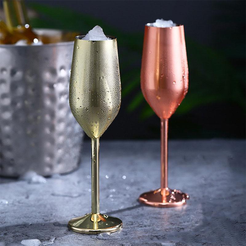 Acier inoxydable Gobelet tige Champagne verres 220ml / 7 oz, verres de vin 500ml / 16 oz argent / or / or rose gros Livraison gratuite PPF2419