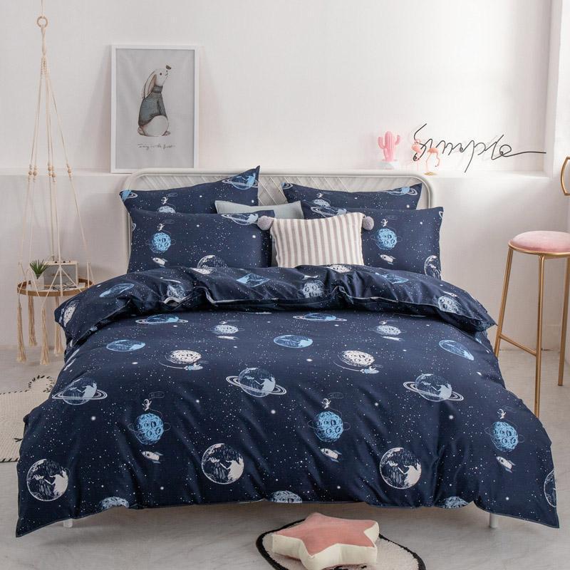 ALANNA HD Serie Bettwäsche Set aus reiner Baumwolle A / B doppelseitige Muster Einfachheit Bettlaken Bettbezug pillowcase 4-7pcs