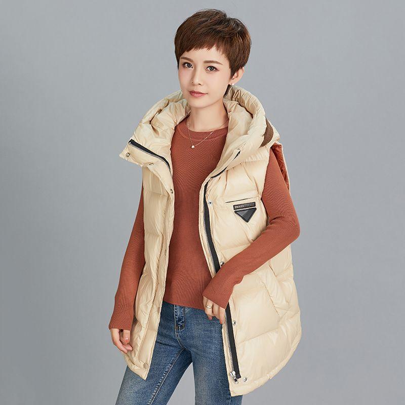 2020 осень зима женская жилет жилет кармана теплые жилеты женщины с капюшоном воротник без рукавов женская повседневная куртка пальто 1026