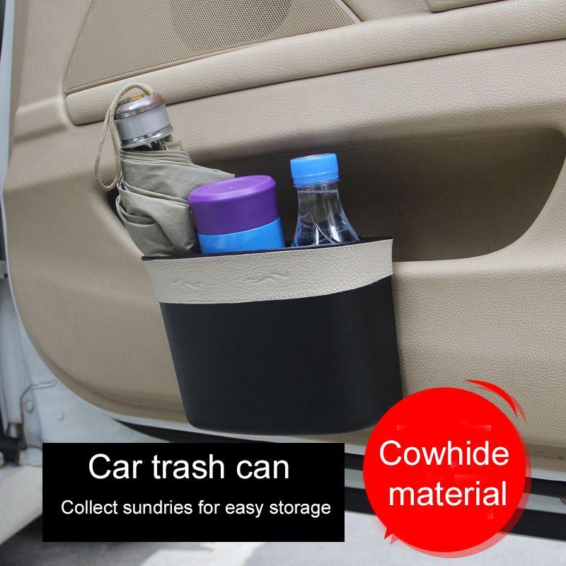 Автомобильный мусорчик Bin может автомобильные аксессуары для интерьера Дверь висит мусорное ведро для сиденья задняя кожаная коробка для хранения универсальный